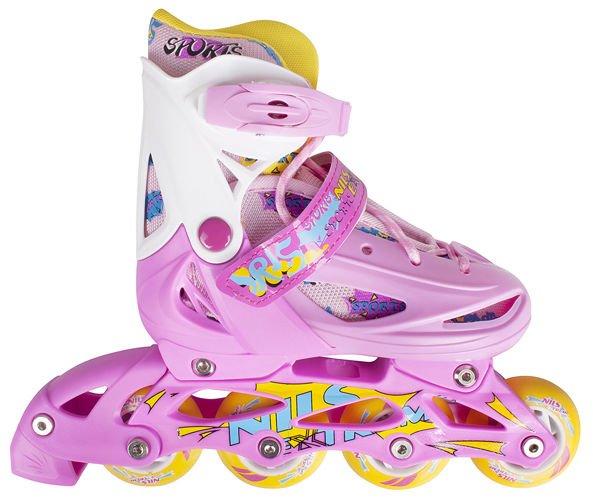 Gr/ö/ßen 27-38 Gelb Verstellbare Schlittschuhe Rollschuhe Gr/ö/ßenverstellbar Inline Skates Kinder NILS| Inliner 3in1 Pink- Blau