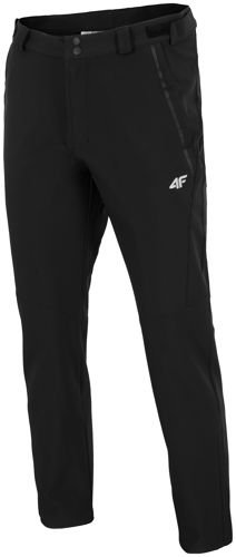 fa393e3e Męskie spodnie trekkingowe softshell SPMT002 4F Czarny - ABA Sport